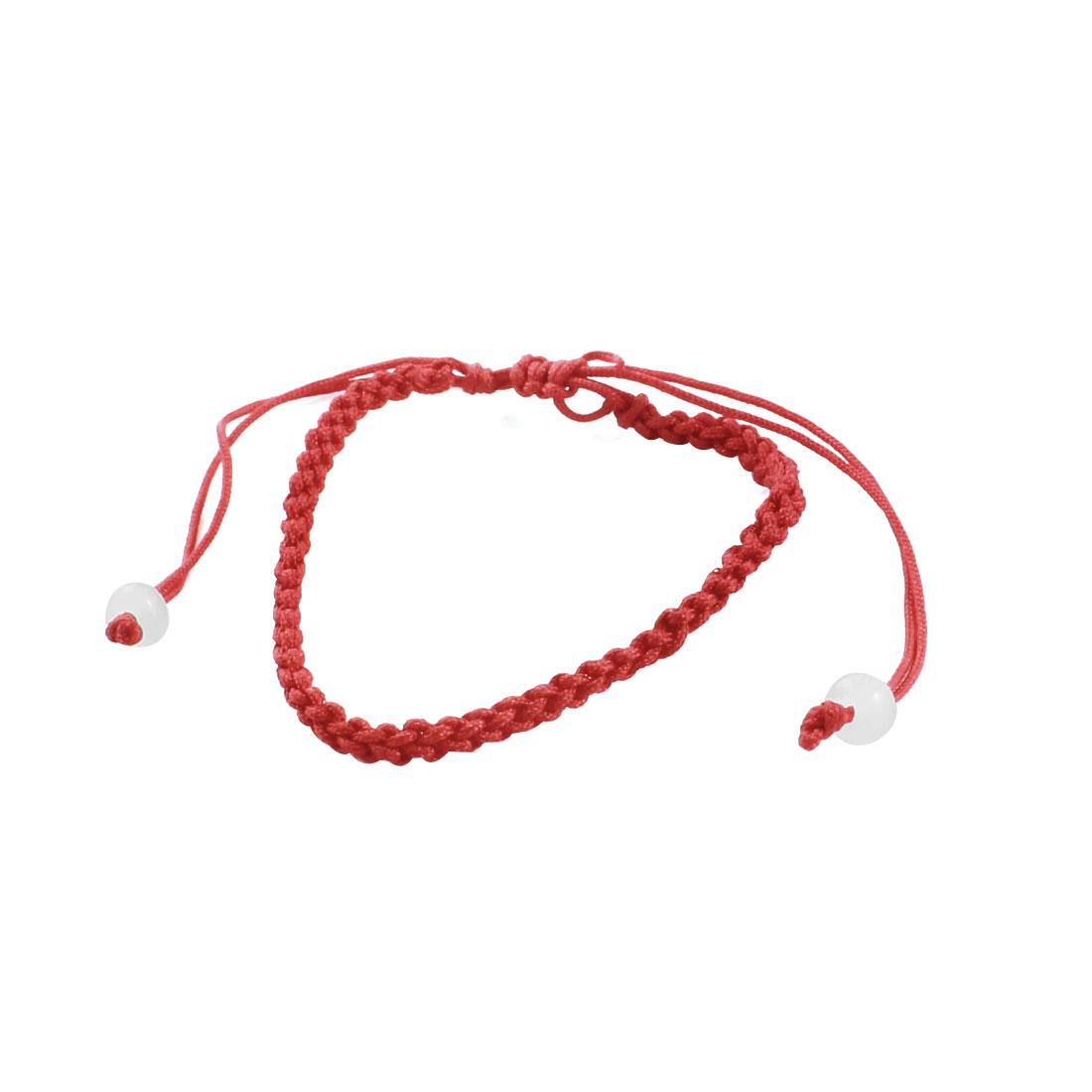 Adjustable Red Braided String White Plastic Bead Detailing Bracelet Anklet