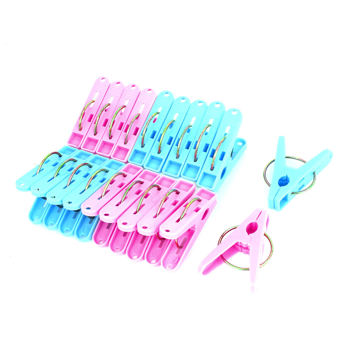 Home Pink Blue Clothes Hanger Clothing Pegs Clips Clothespins 20 Pcs
