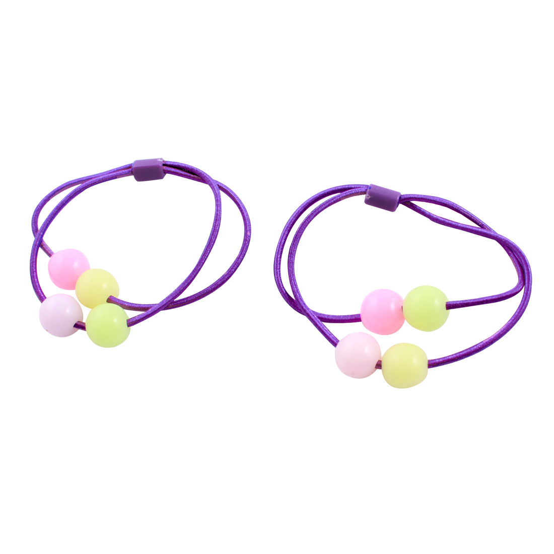 Multicolor Round Plastic Beads Accent Purple Stretchy Band Hair Tie Ponytail Holder 2 Pcs