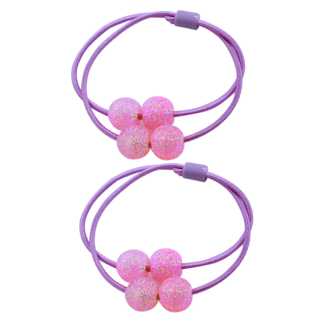 Pink Glittery Round Plastic Beads Accent Stretchy Hair Bands Ponytail Holder 2 Pieces