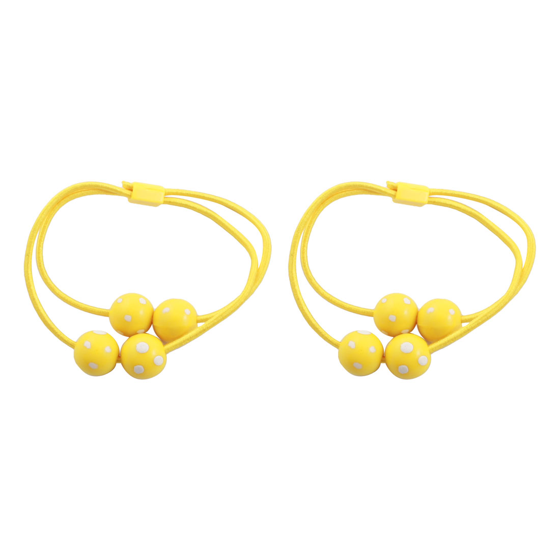 2 Pcs White Dots Print Beads Accent Stretchy Hair Bands Ponytail Holder Yellow