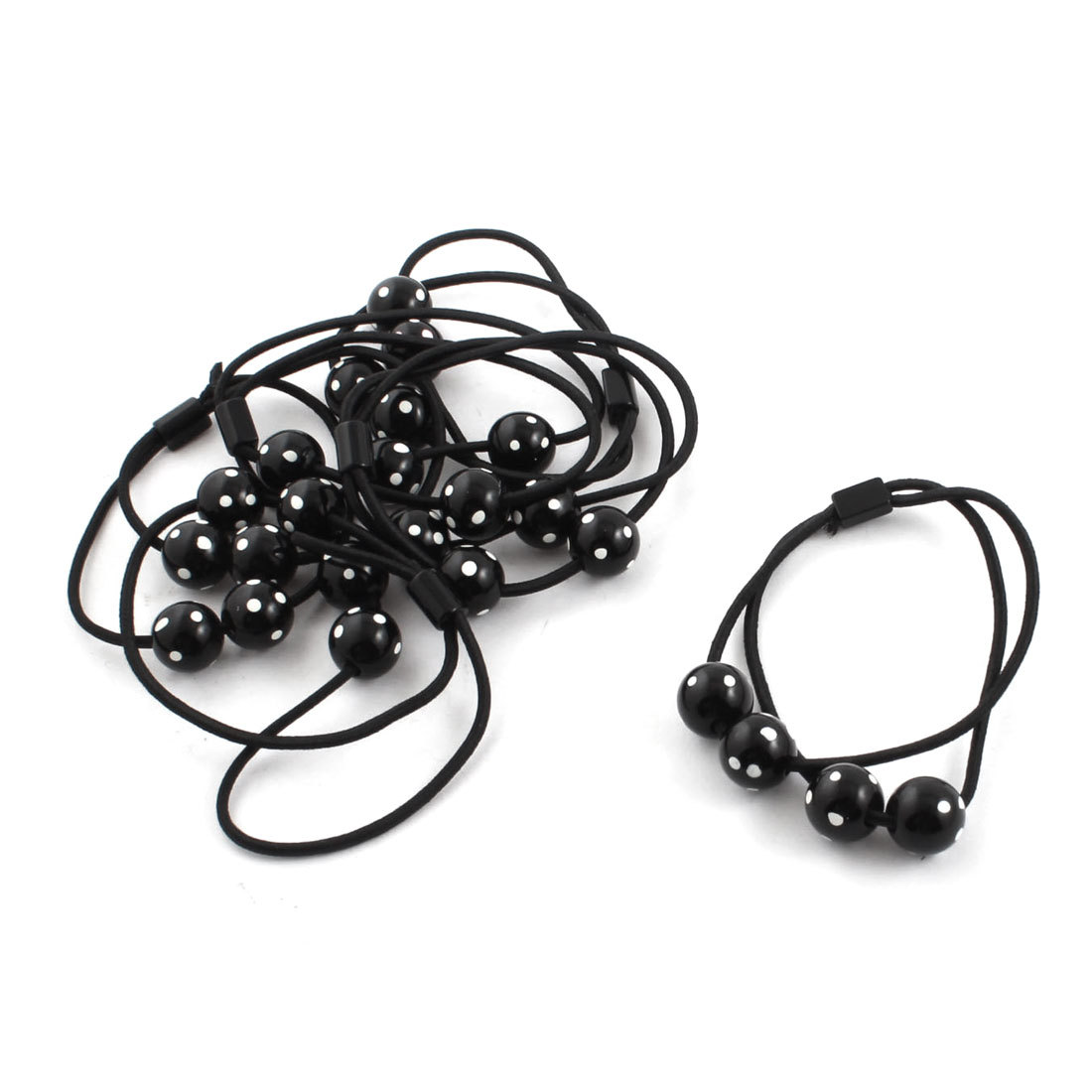 6 Pcs White Dots Print Beads Accent Stretchy Hair Bands Ponytail Holders Black