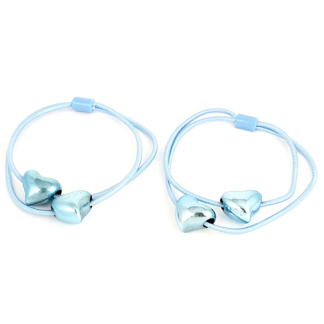 Women Blue Heart Shaped Pendant Elastic Ponytail Holders Hair Band 2 Pcs