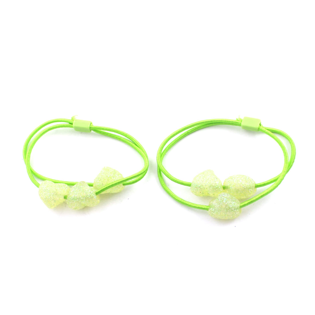 2 Pcs Glittery Heart Shape Beads Accent Stretchy Hair Bands Ponytail Holder Green