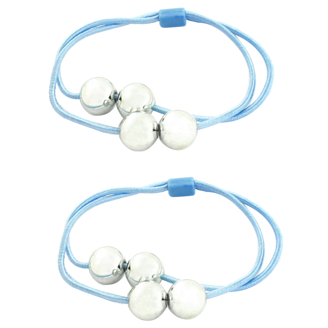 Silver Tone Round Plastic Beads Decor Light Blue Hair Band Ponytail Holder 2 Pcs