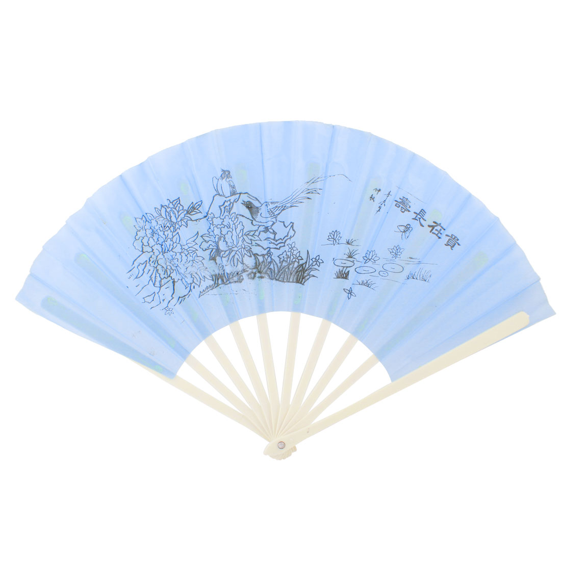 Chinese Style Plastic Frame Floral Bird Pattern Foldable Hand Fan Blue Beige