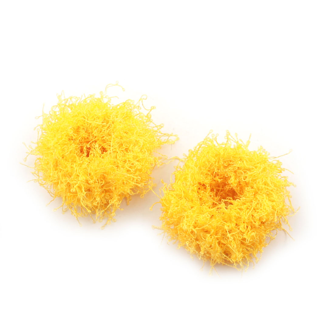 2 Pcs Yellow Stretchy Hair Band Tie Ponytail Holder for Girls Ladies