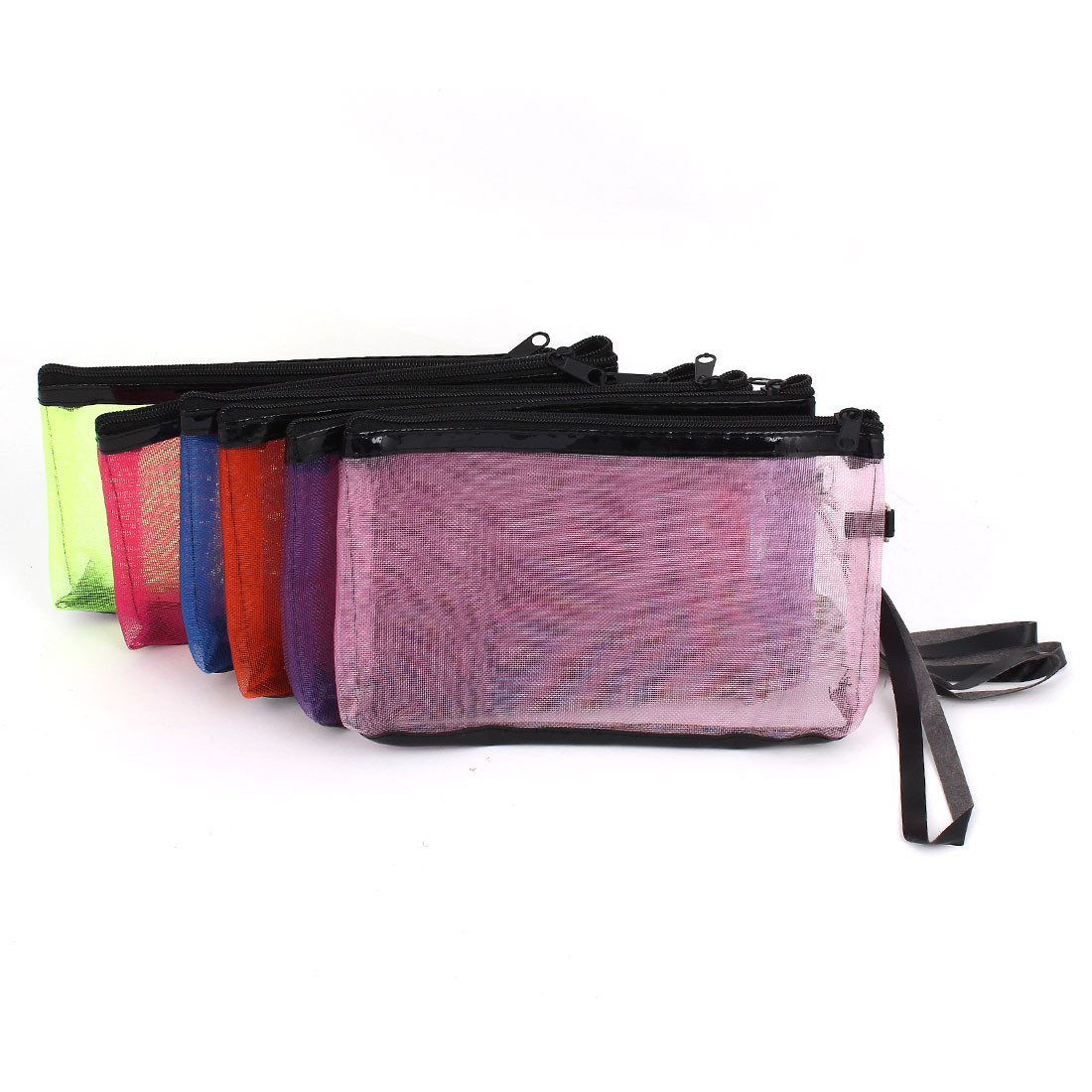 6 Pcs Assorted Color Nylon Meshy Zippered Makeup Cosmetic Bag Case w Strap