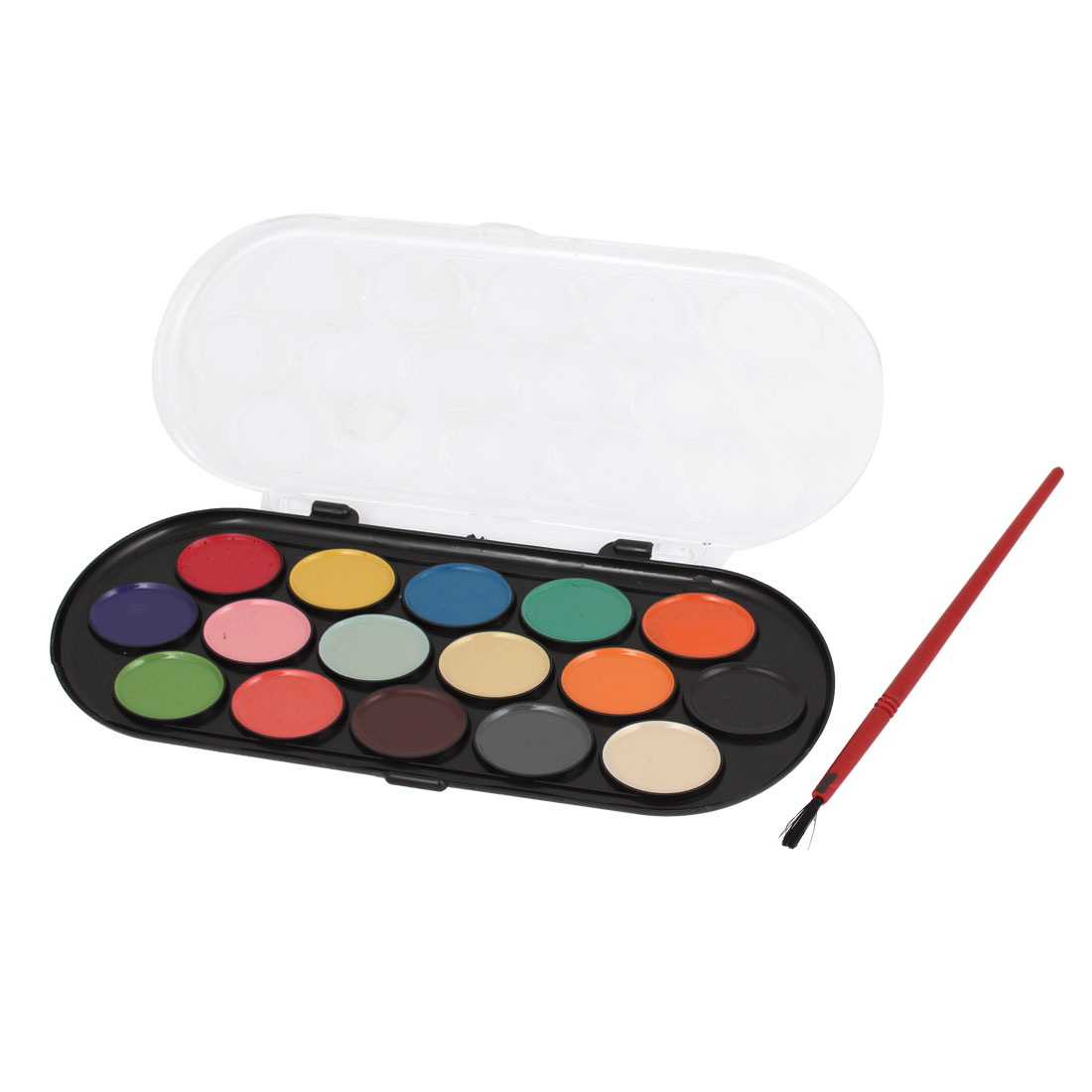 Washable 16 Assorted Colors Watercolors Paint w Red Brush