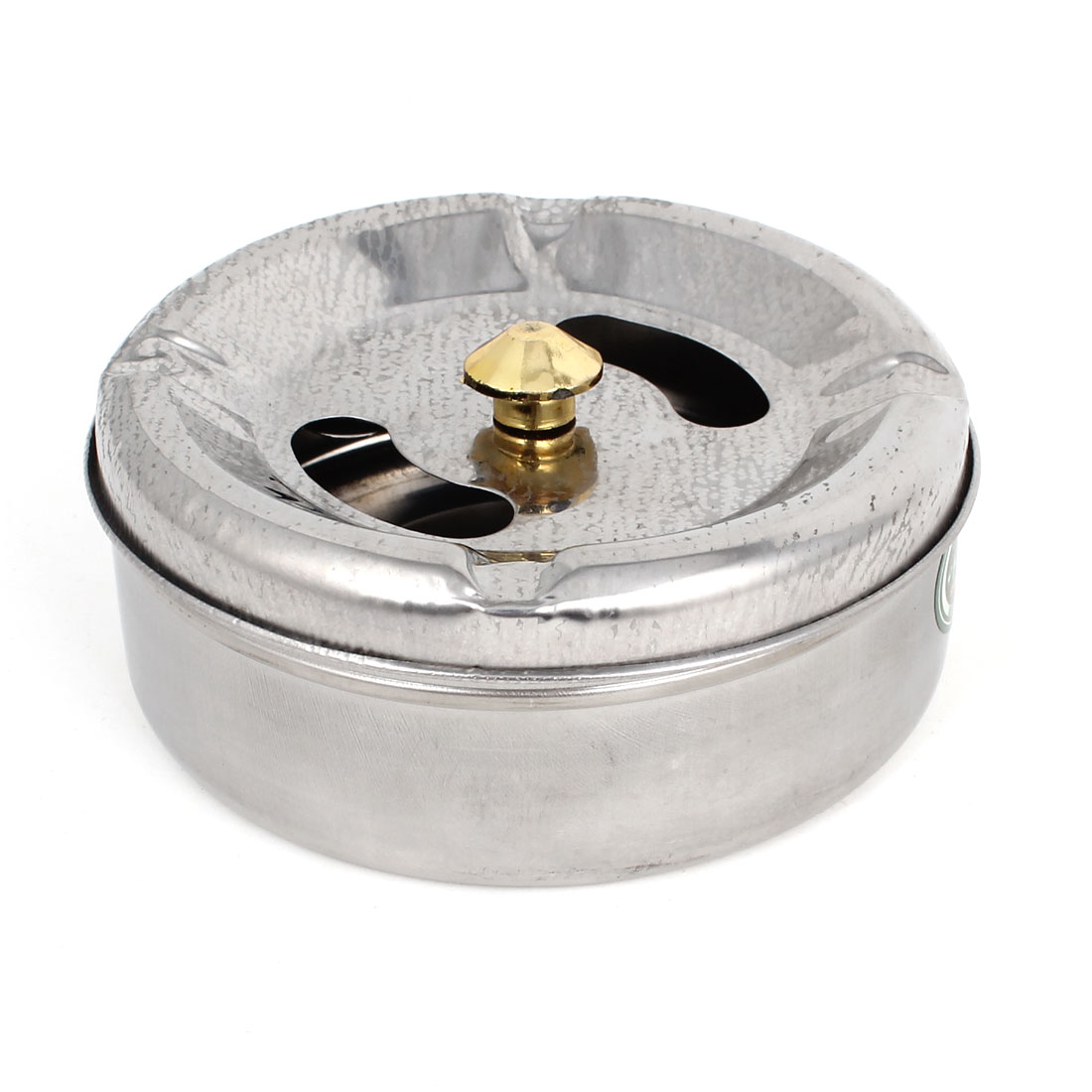 Office Home Silver Tone Metal 10cm Dia Cylinder Shape Rotating Lid Cigarette Holder Ashtray