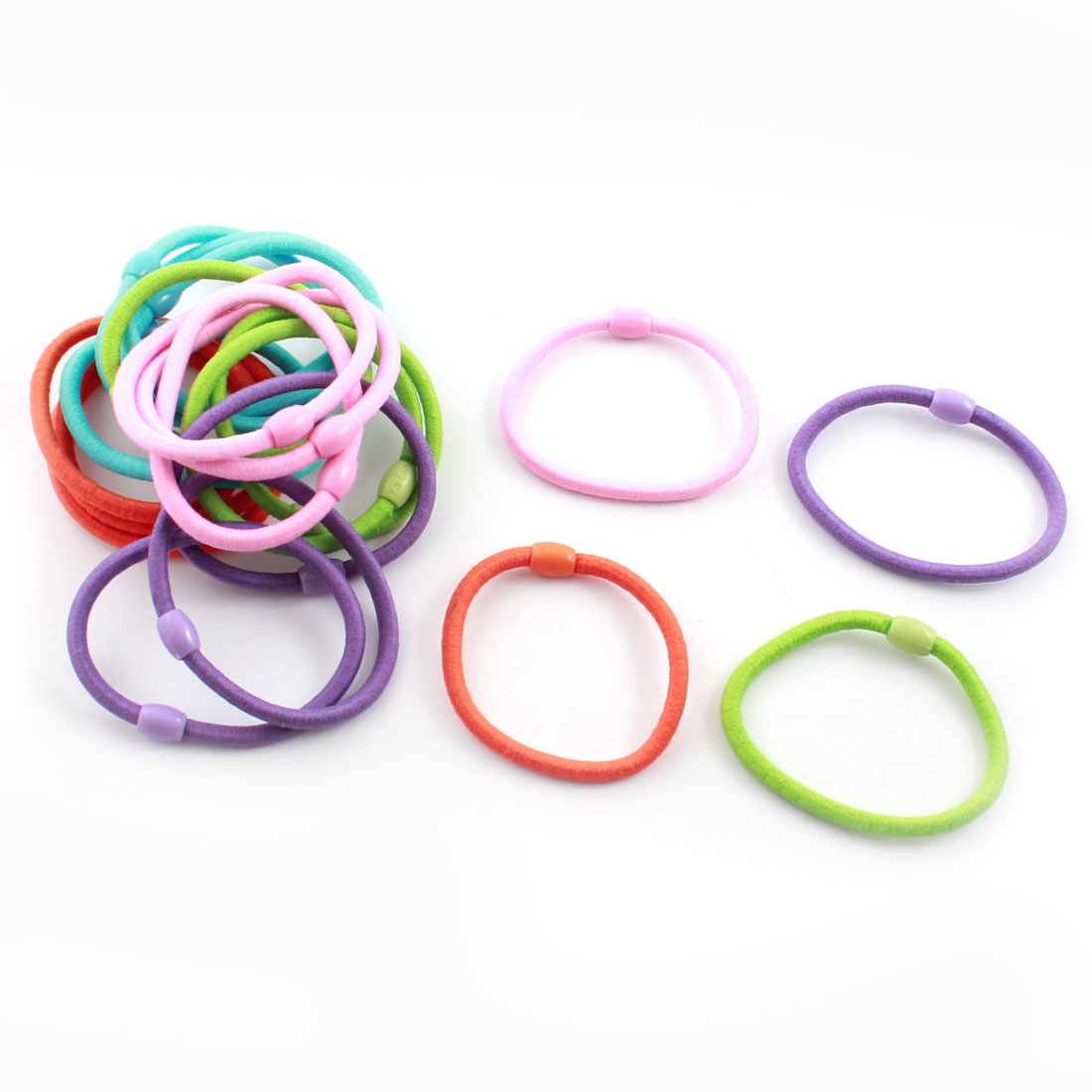 Lady Girl Hairstyle Multicolor Bead Decor Elastic Ponytail Holders Hair Bands 20 Pcs
