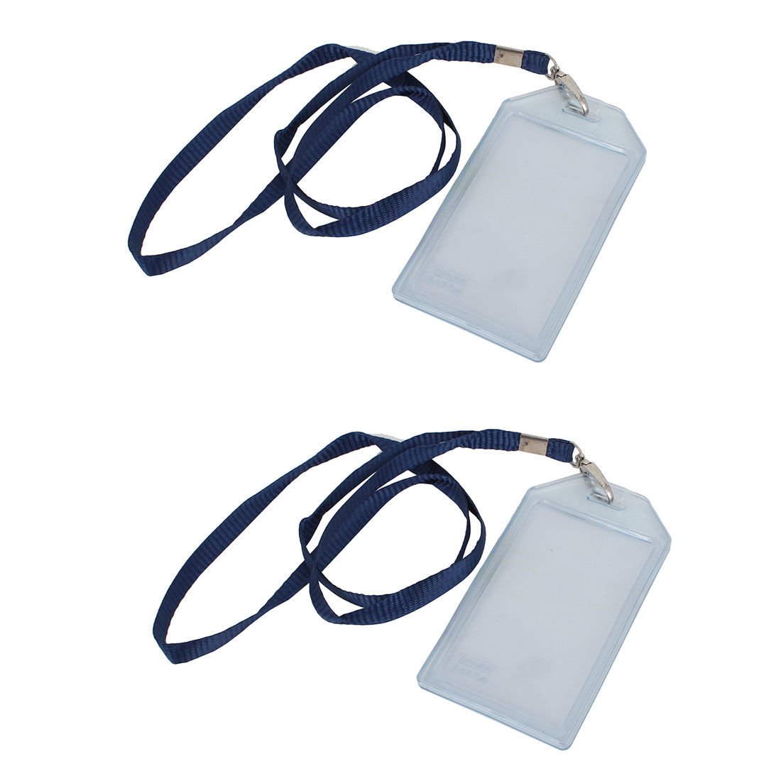 Office Factory Plastic Name ID Card Container w Blue Nylon Lanyard Clear 2 Pcs