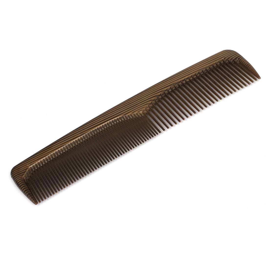Women Coffee Color Plastic Double Ends Stripe Pattern Wide Fine Teeth Hair Comb