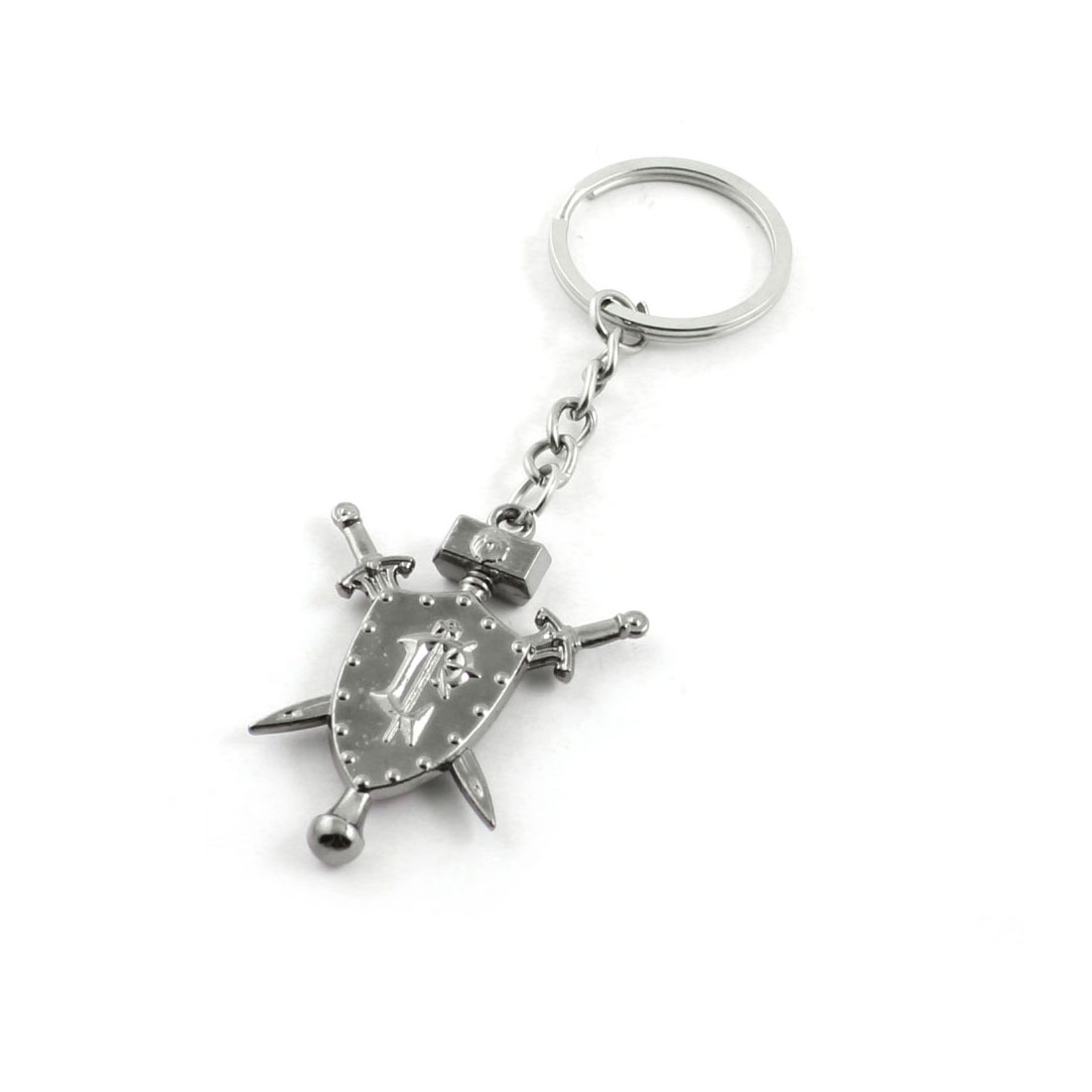 Metal Sword Design Pendant Split Key Ring Keychain Key Holder