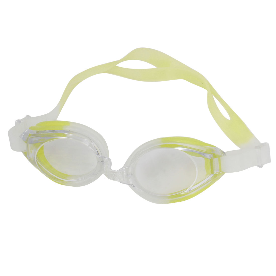 Clear Yellow Plastic Lens Elastic Strap Swimming Goggles w Pair Earplugs