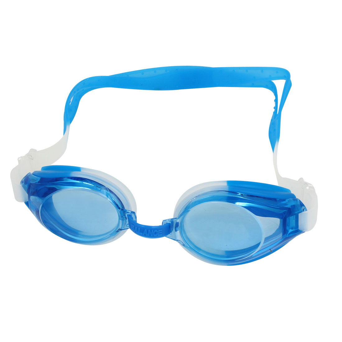 Blue White Clear Silicone Adjustable Band Swimming Goggles w Earplugs