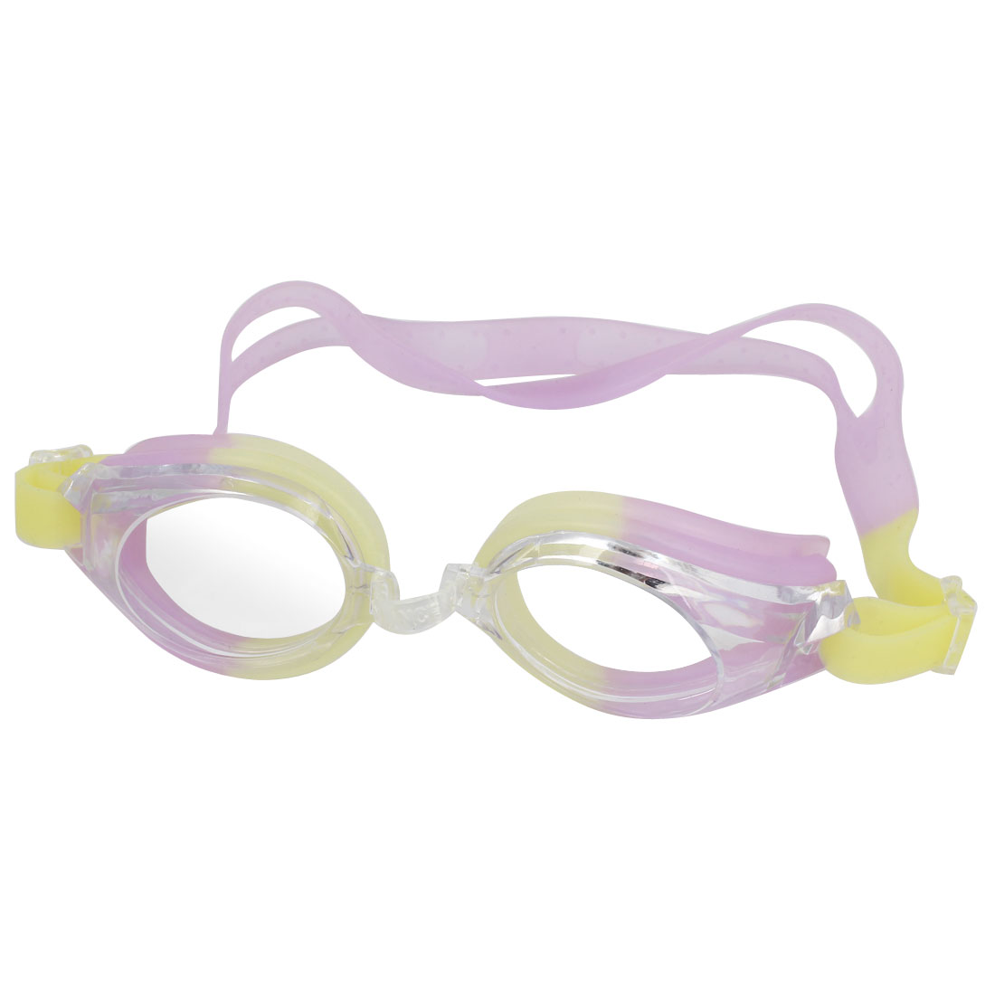 Light Purple Yellow Clear Silicone Adjustable Band Swimming Goggles w Earplugs