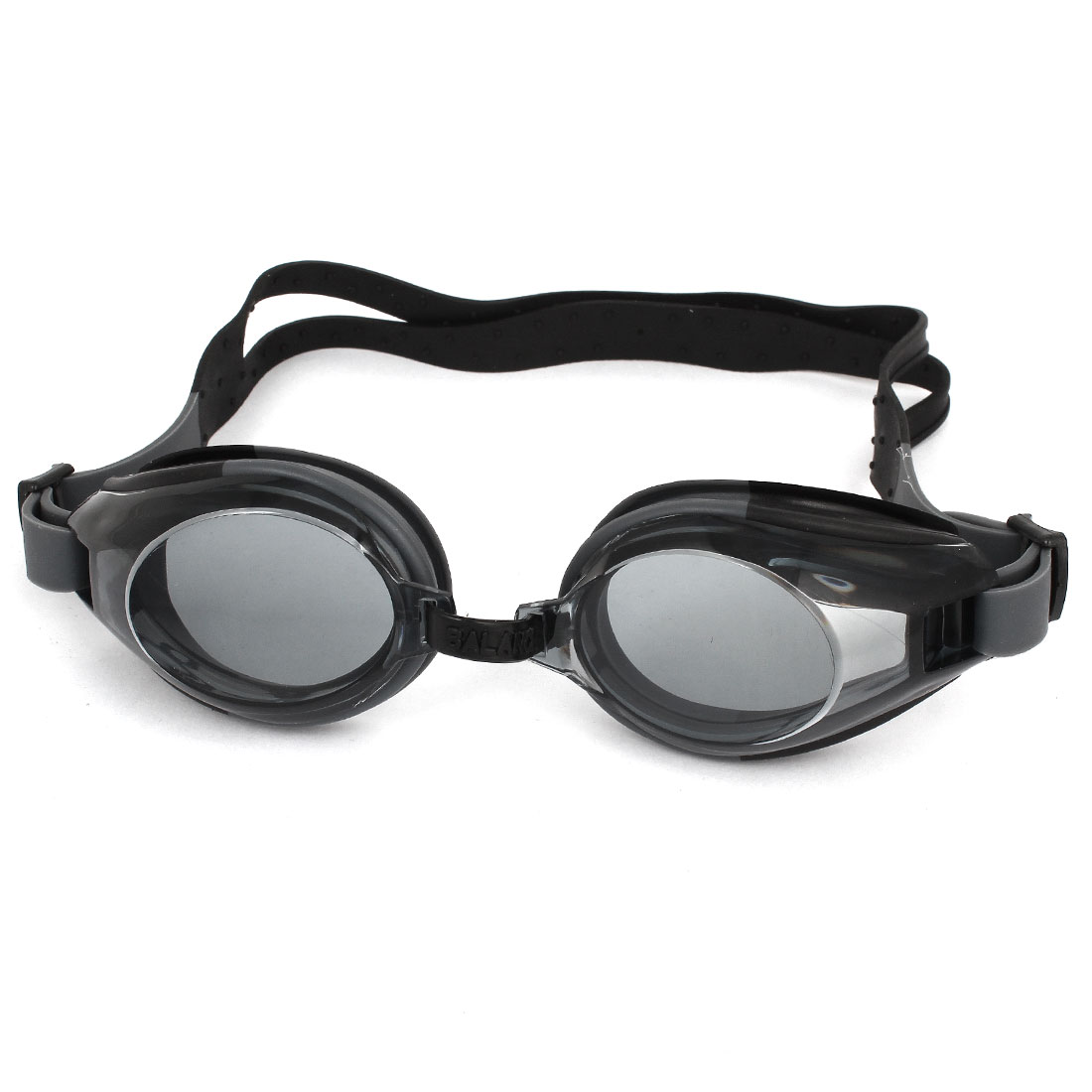Black Clear Silicone Adjustable Band Swimming Goggles w Earplugs