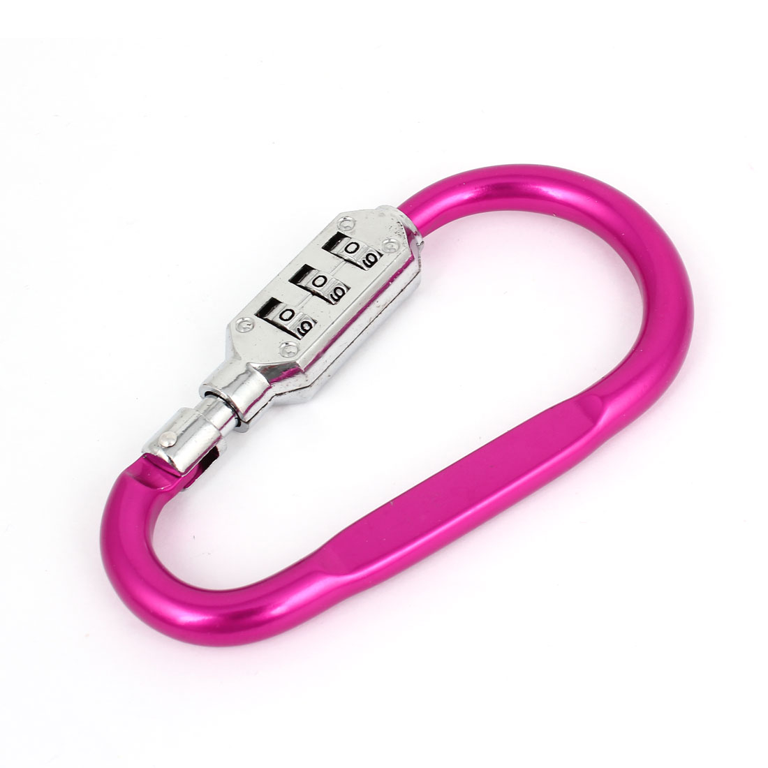Outdoor Hiking 3 Digits Resettable Combination Number Padlock Carabiners Hook Fuchsia Silver Tone
