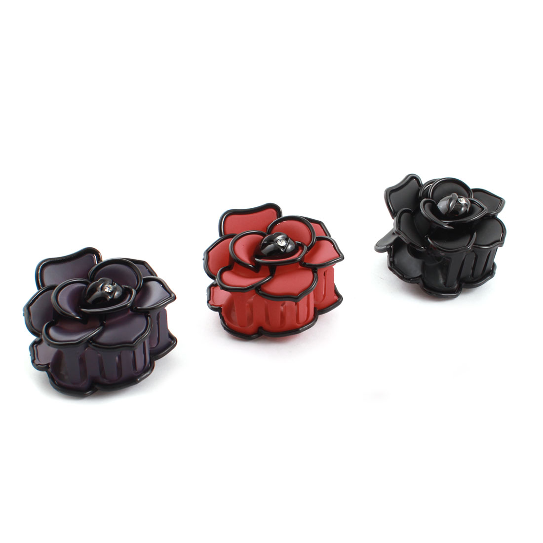 Lady Rose Shaped Tri-color Plastic Hairdressing Hairpin Hair Claw 3 Pcs