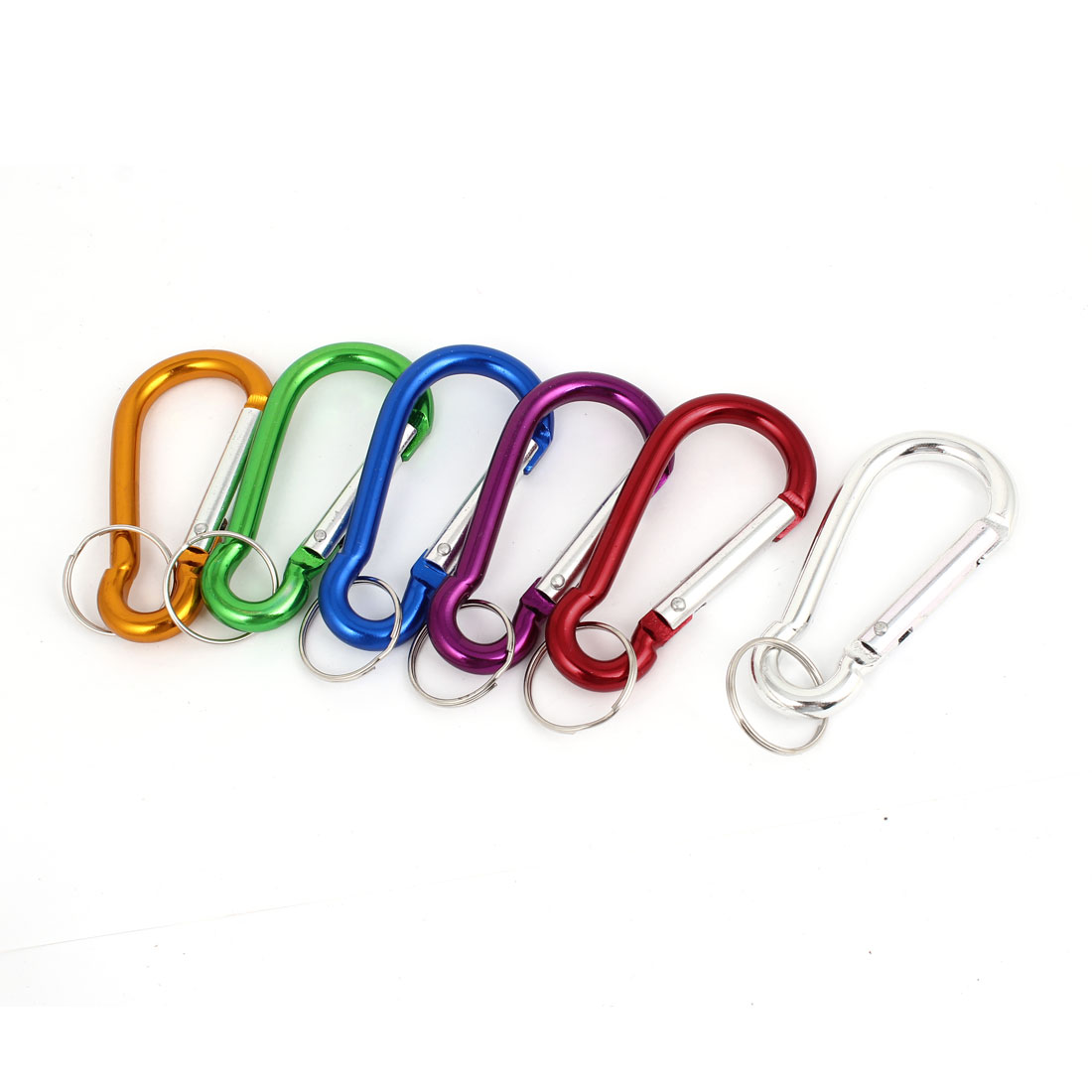 Outdoor Travelling Assorted Color Keyring Key Chain Carabiners Hooks 6 Pcs