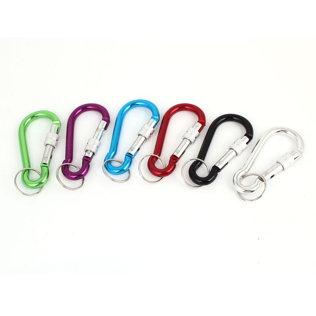 Assorted Color Metal Screw Lock Spring Loaded Gate Carabiners Hooks 6 Pcs