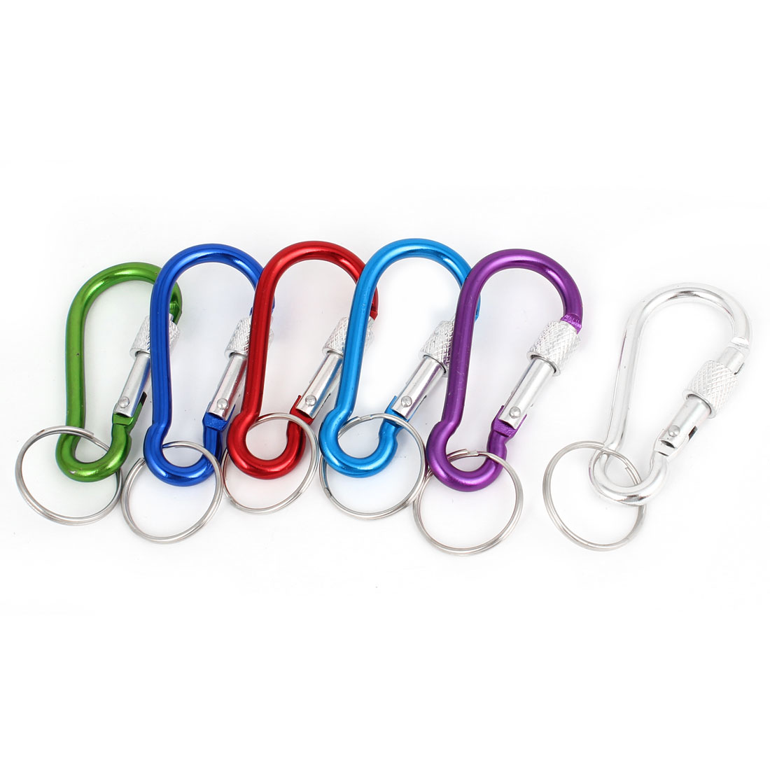 Colorful Aluminum Alloy Spring Loaded Gate Carabiner Hook w Keyring 6 Pcs