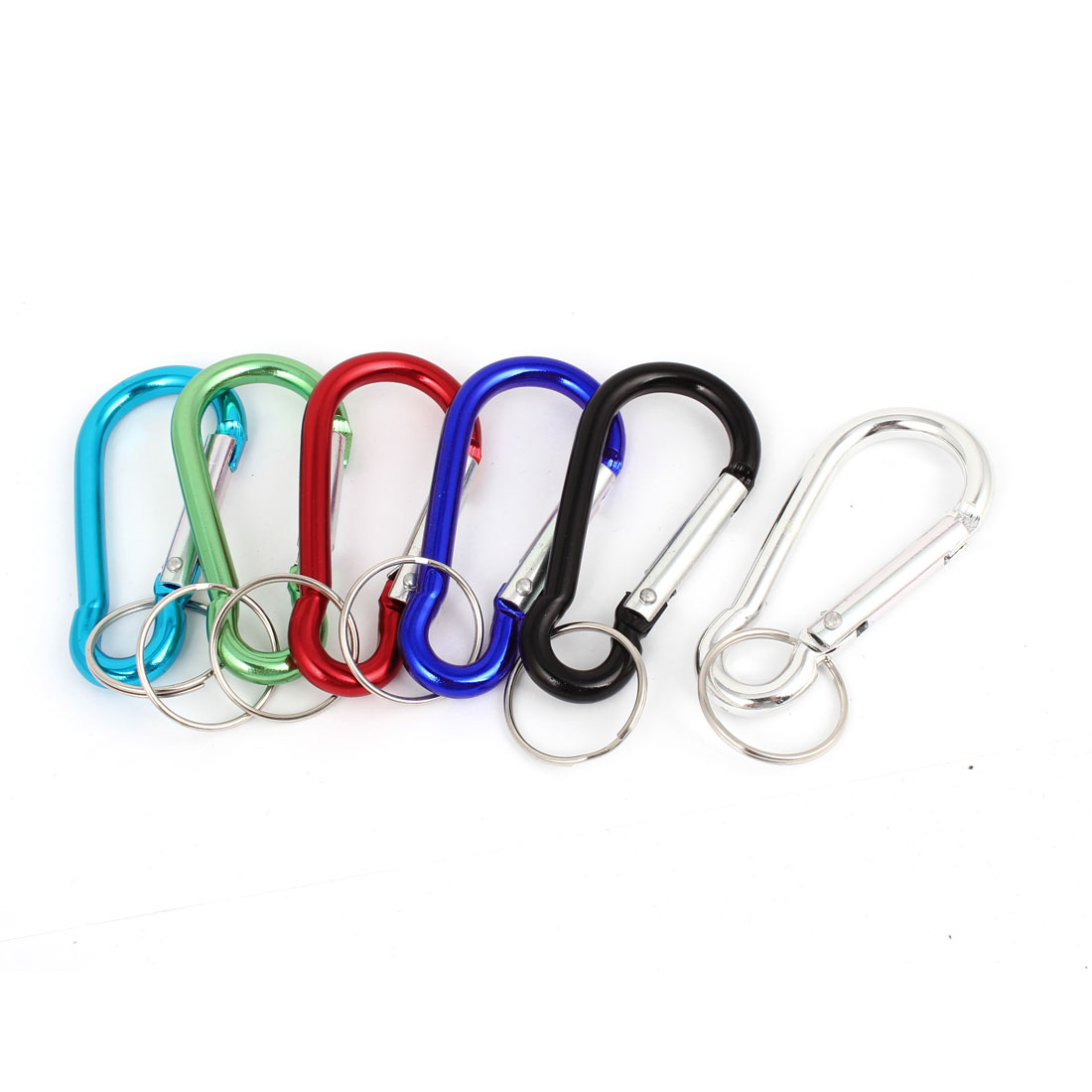 Outdoor Hiking Keychain Key Ring Spring Loaded Carabiners Hooks Assorted Color 6 Pcs