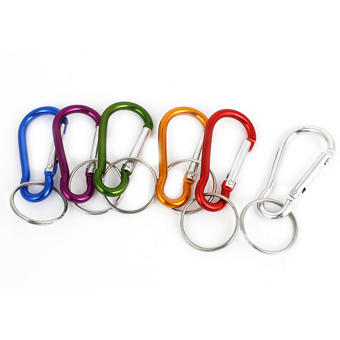 Outdoor Travelling Multicolor Keychain Bag Holder Carabiners Hooks 6 Pieces