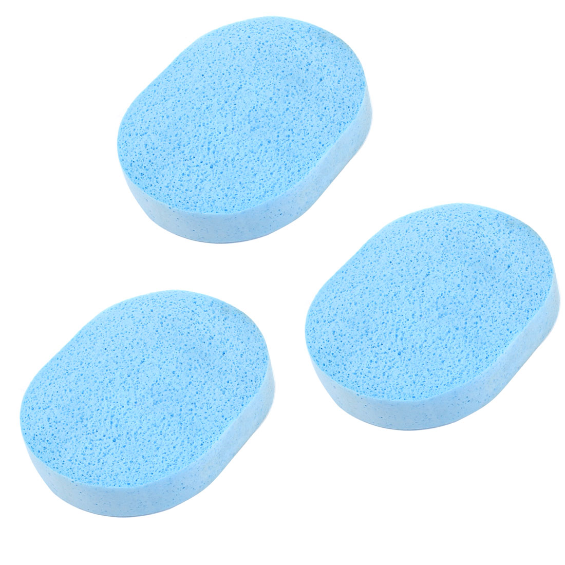Blue Oval Make Up Facial Face Washing Cleansing Sponge Puff 3 Pcs