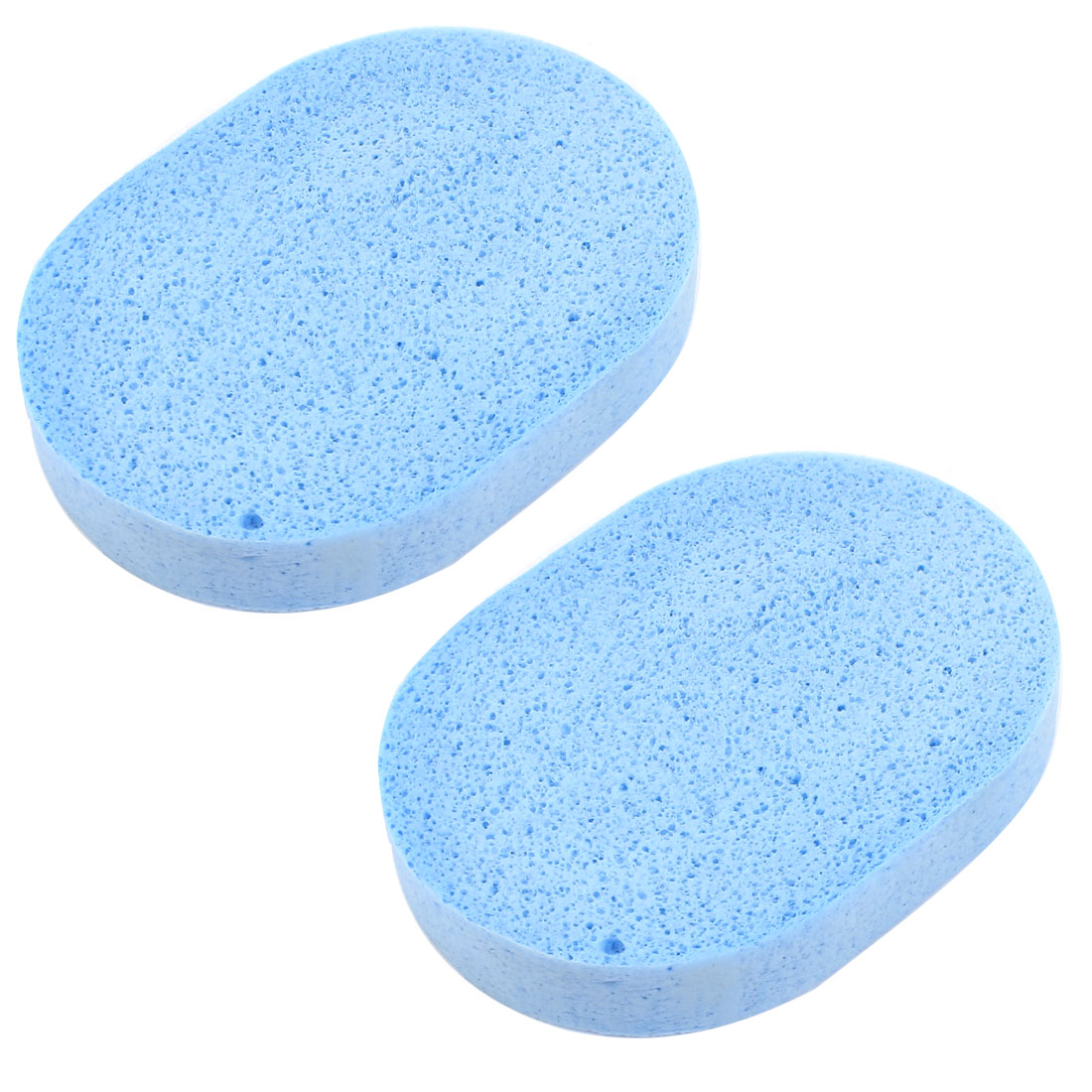 Blue Oval Make Up Facial Face Washing Cleansing Sponge Puff 2 Pcs