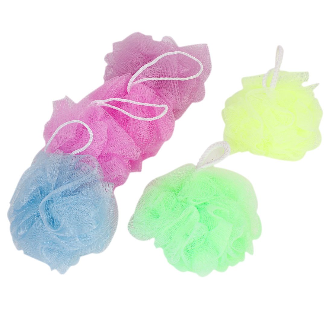 6 Pcs Assorted Color Nylon Mesh Bath Shower Flower Ball w Hanging Loop