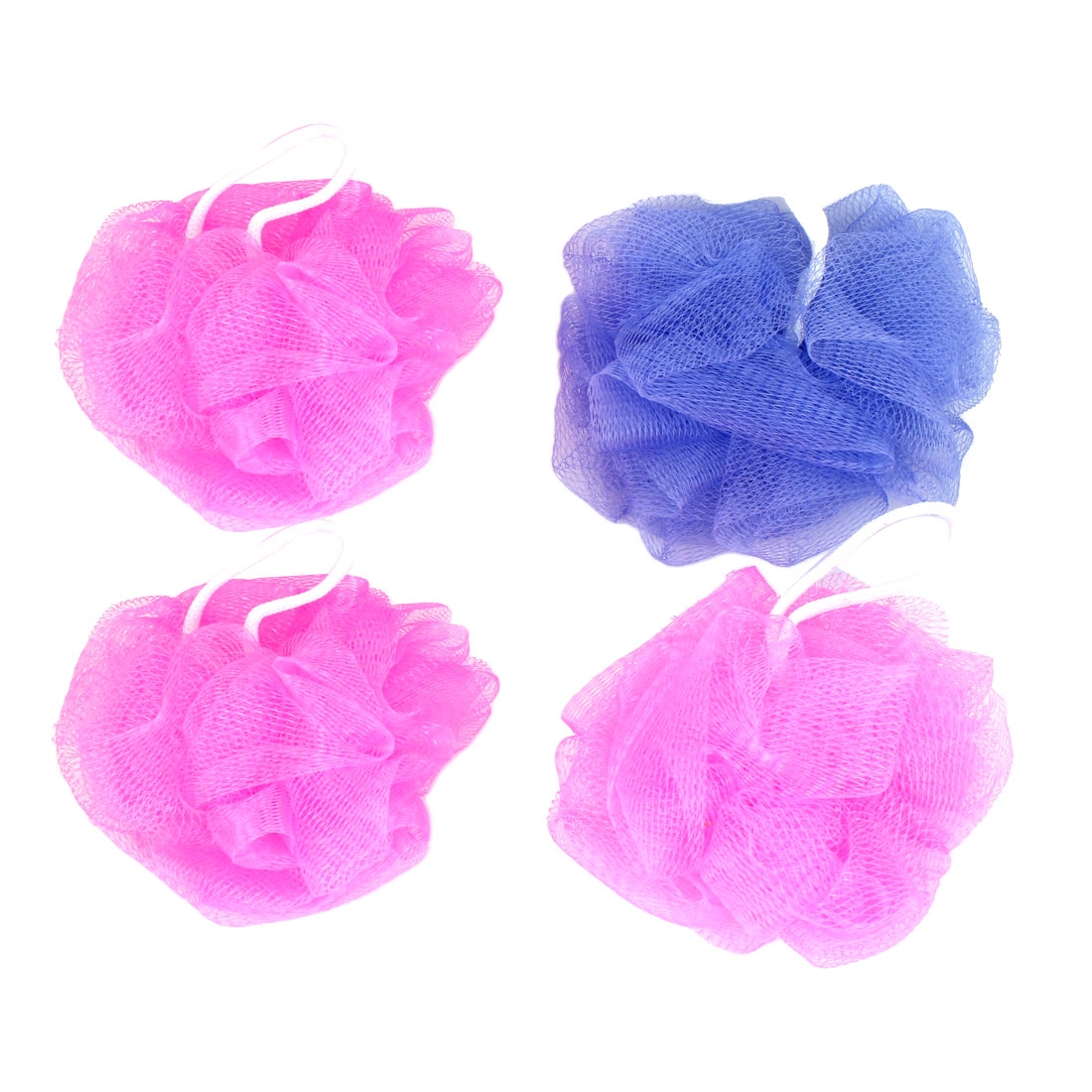 Bathroom Pink Blue Nylon Body Washing Shower Ball Mesh Nets Pouf 4 Pcs