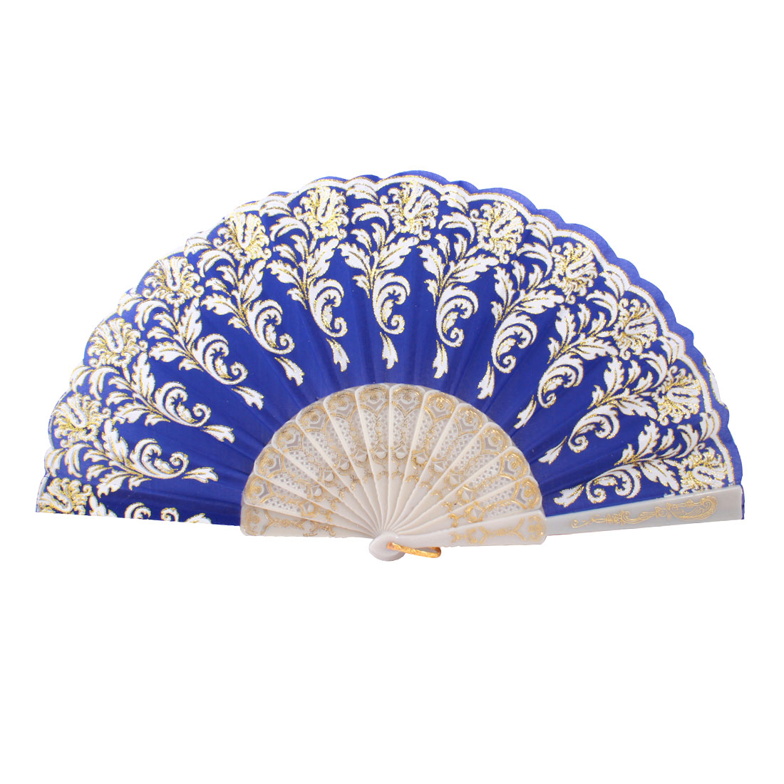 Plastic Frame Gold Tone Glittery Powder Decor Floral Pattern Foldable Hand Fan Blue White