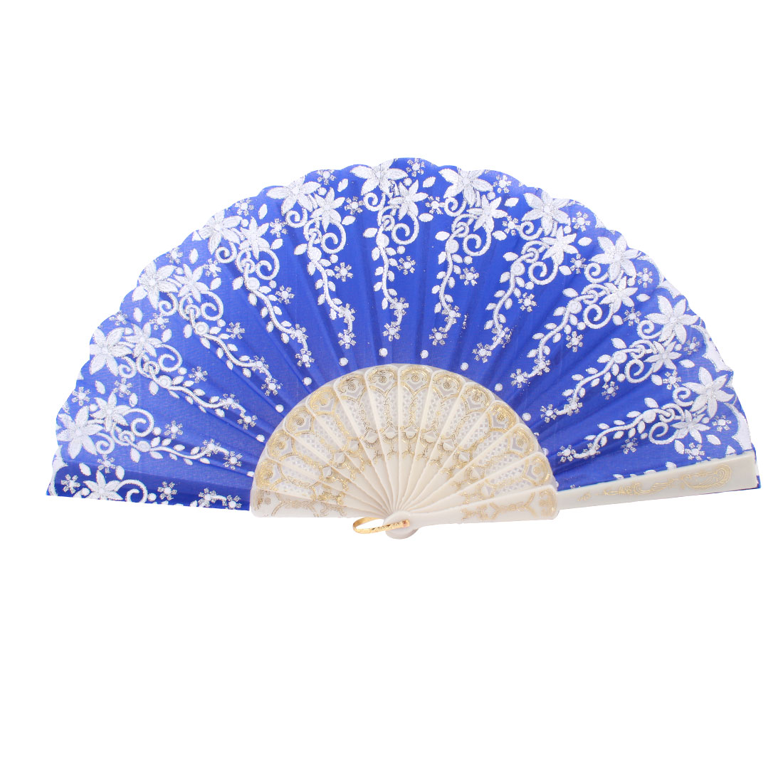 Plastic Frame Silver Tone Glittery Powder Decor Floral Pattern Foldable Hand Fan Blue White