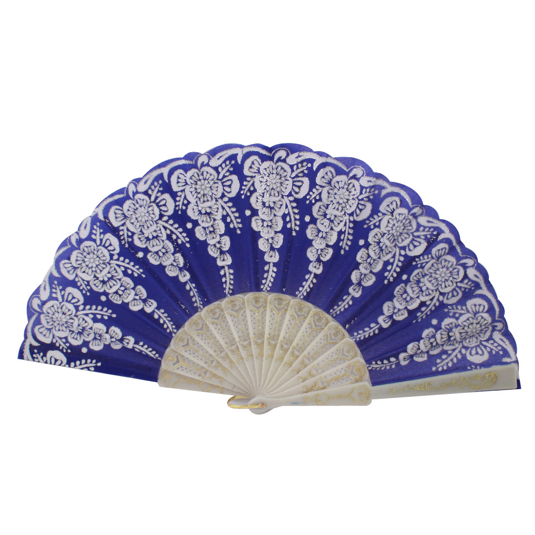 Plastic Rib Silver Tone Glittery Powder Decor Floral Pattern Folding Hand Fan Blue White