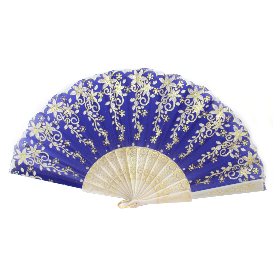 Plastic Rib Gold Tone Glittery Powder Detail Flower Pattern Foldable Hand Fan Blue White
