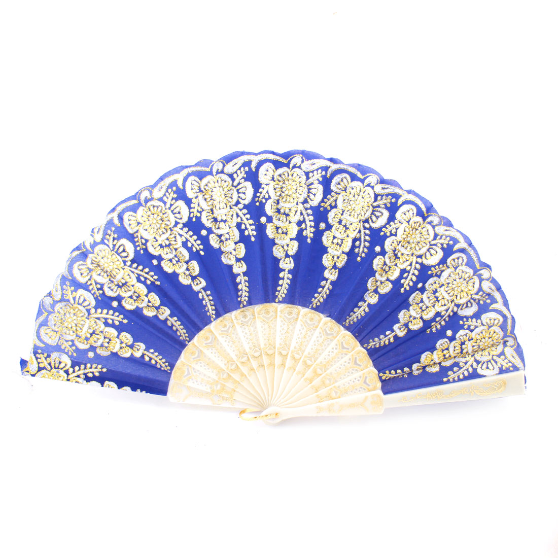 Plastic Hollow out Rib Gold Tone Glittery Powder Detail Flower Pattern Dancing Hand Fan Blue White