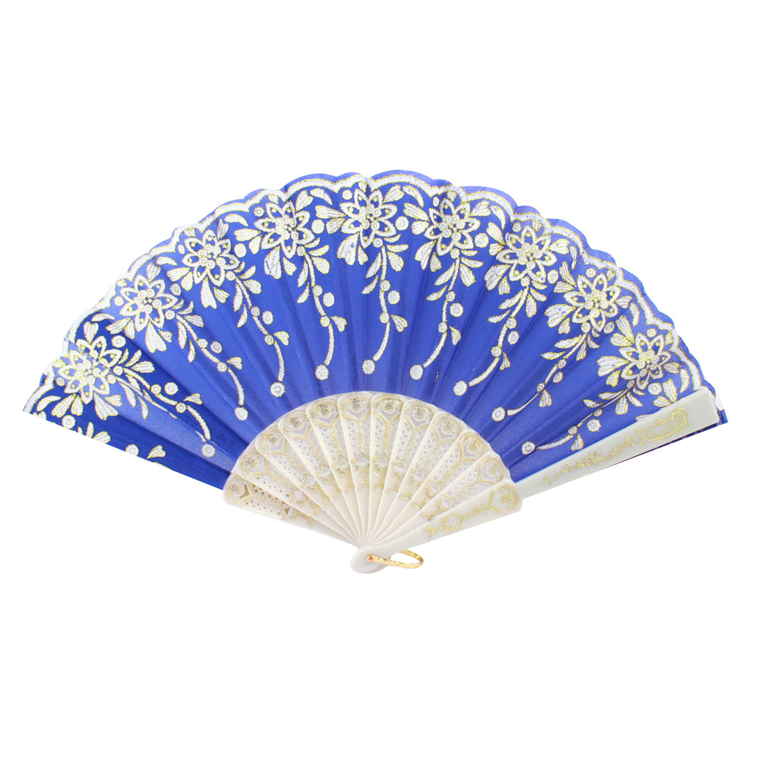 Plastic Rib Gold Tone Glittery Powder Decor Floral Pattern Folding Hand Fan Blue White