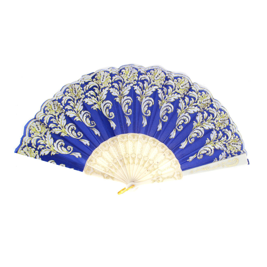 Plastic Frame Gold Tone Glittery Powder Detail Floral Printed Folding Hand Fan Blue White