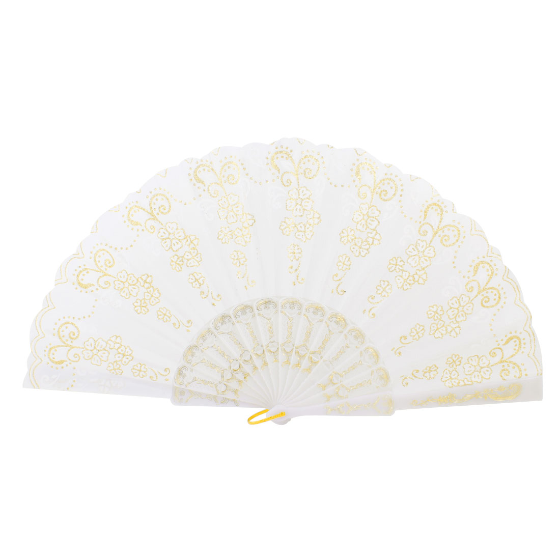 Plastic Frame Gold Tone Glittery Powder Detail Floral Printed Dancing Folding Hand Fan White