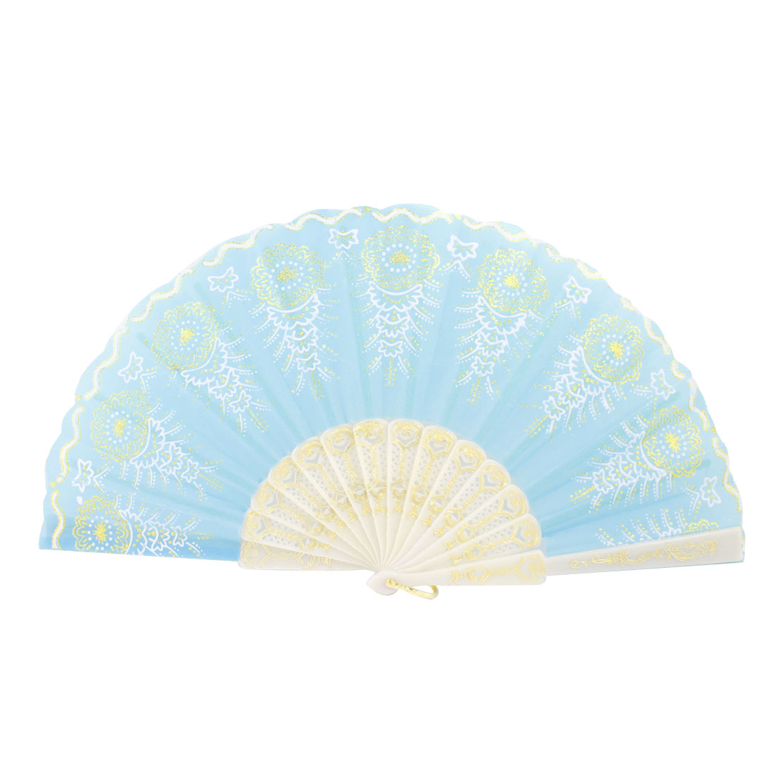 Plastic Rib Gold Tone Glittery Powder Decor Floral Pattern Folding Hand Fan Teal White