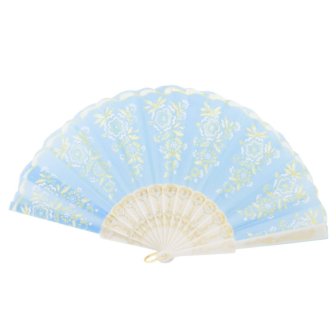 Plastic Frame Gold Tone Glittery Powder Decor Floral Pattern Foldable Hand Fan Teal White