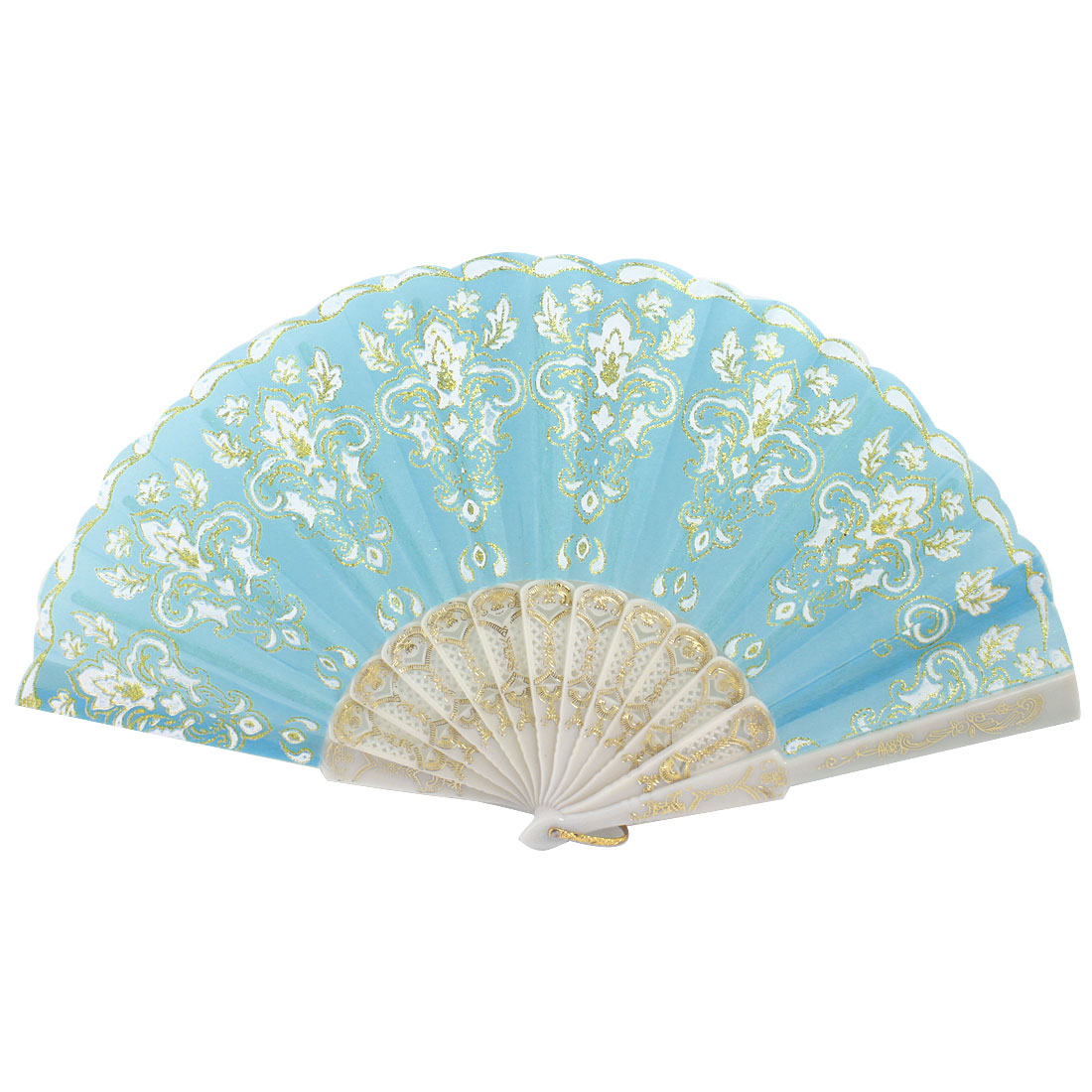 Plastic Rib Gold Tone Glittery Powder Detail Flower Pattern Foldable Hand Fan Teal White