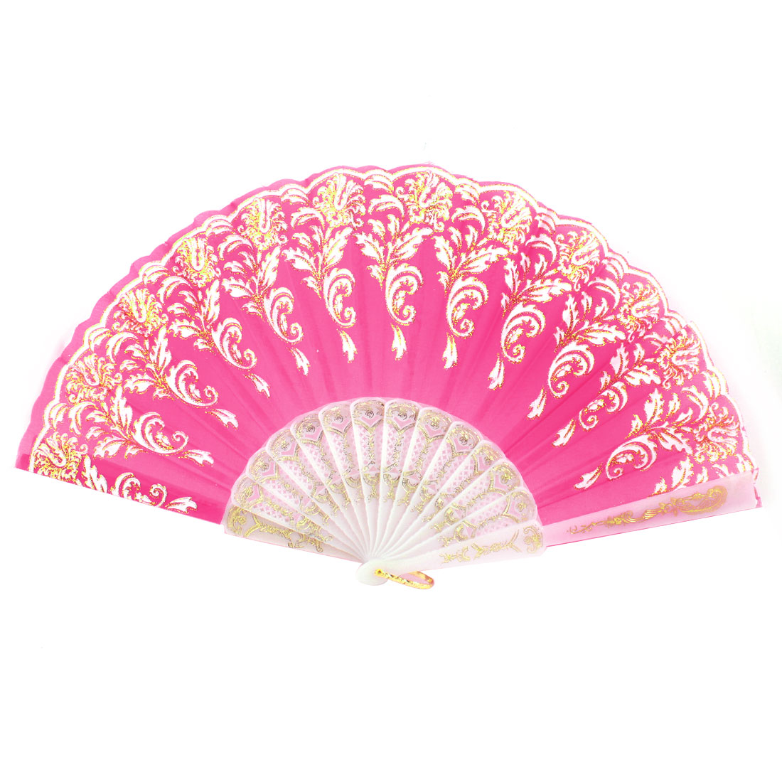 Plastic Hollow out Rib Gold Tone Glittery Powder Detail Flower Pattern Dancing Hand Fan Fuchsia White