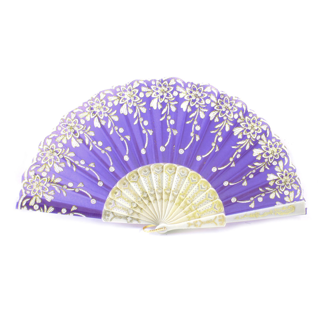 Plastic Rib Gold Tone Glittery Powder Detail Flower Pattern Foldable Hand Fan Purple White