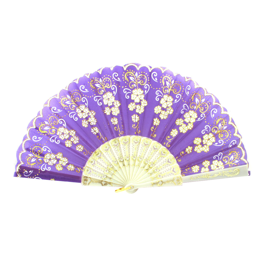Plastic Rib Gold Tone Glittery Powder Decor Floral Pattern Folding Hand Fan Purple White