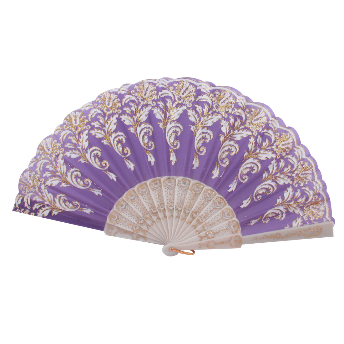 Plastic Frame Gold Tone Glittery Powder Detail Floral Printed Folding Hand Fan Purple White