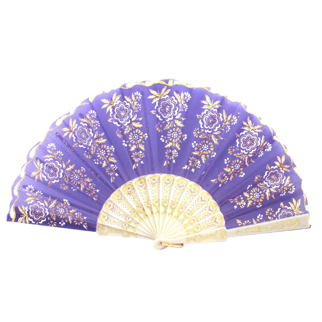 Plastic Frame Gold Tone Glittery Powder Decor Floral Pattern Foldable Hand Fan Purple White