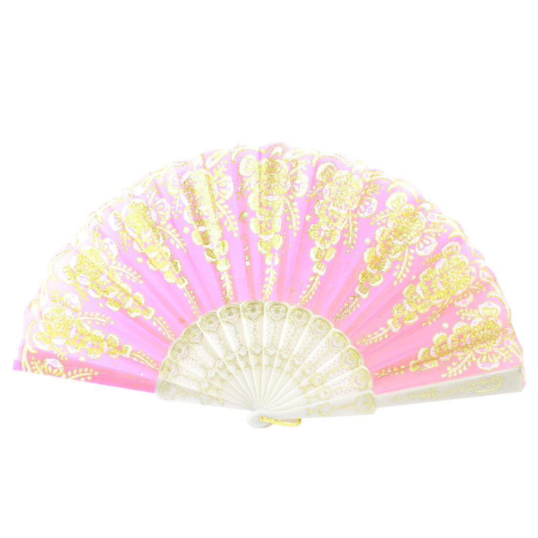 Plastic Frame Gold Tone Glittery Powder Decor Floral Pattern Foldable Hand Fan Pink White